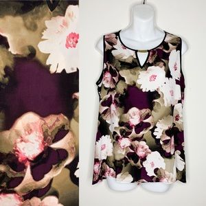 Calvin Klein Floral Sleeveless Shell Career Top L